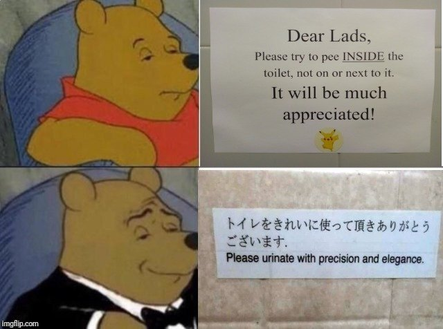 Please urinate with precision and elegance - meme
