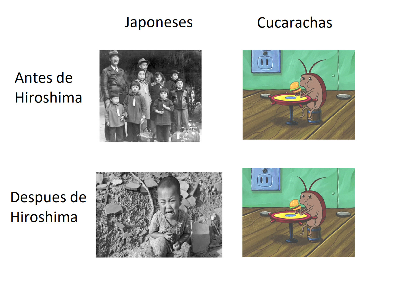 las cucarachas immortales - meme