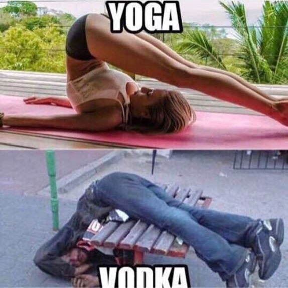 Yoga; Vodka - meme