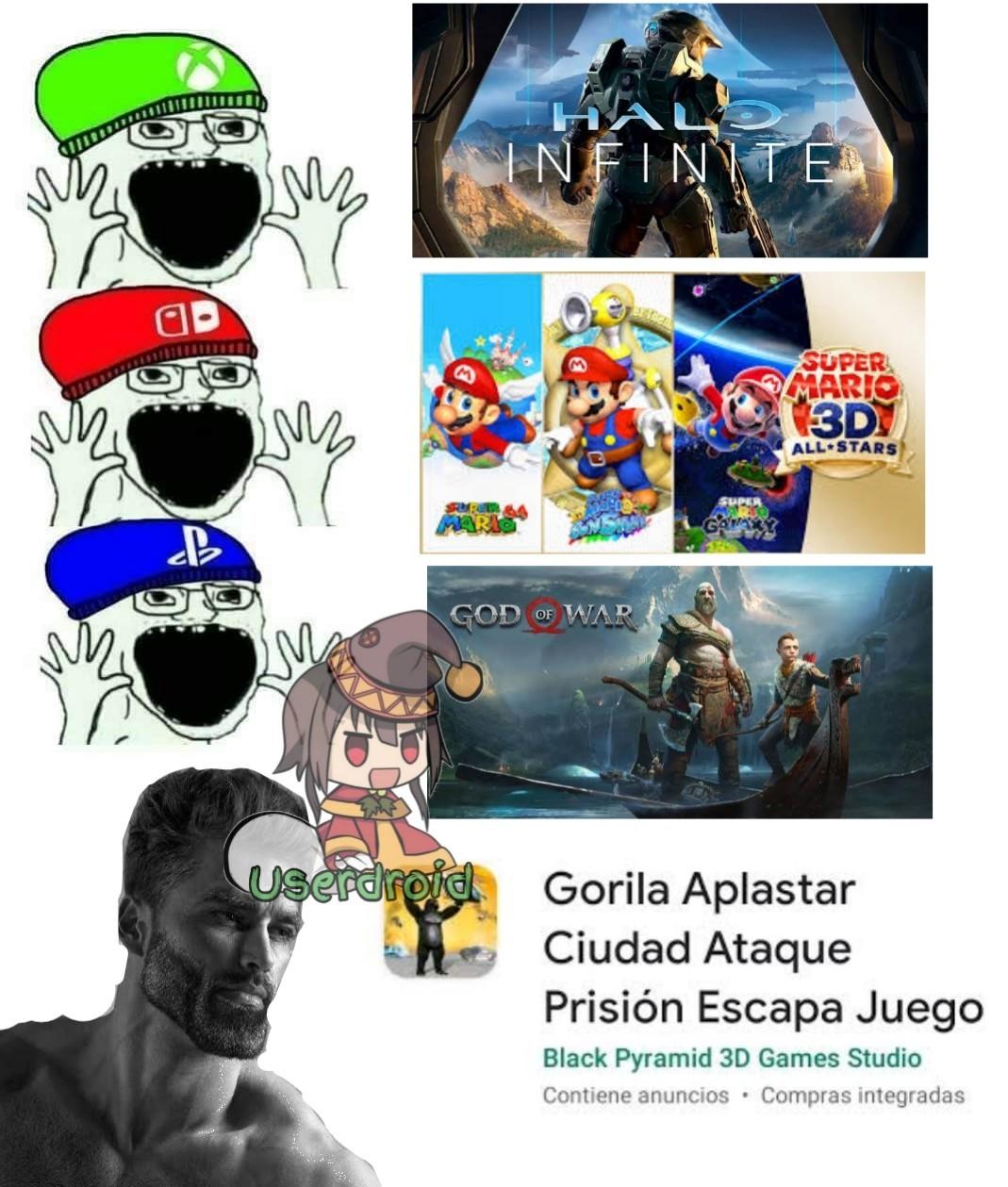 Gorila aplastar ciudad ataque prisión Escapa juego = gigachad - meme