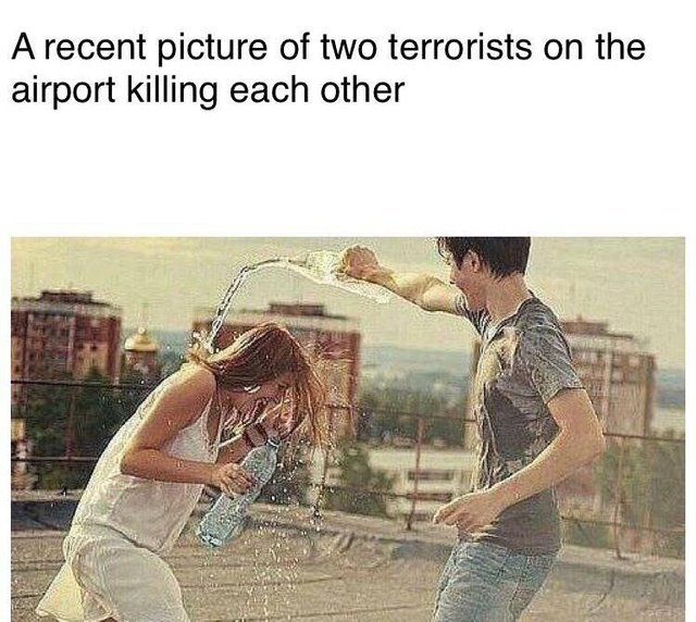 Terrorists on the airport killing each other - meme