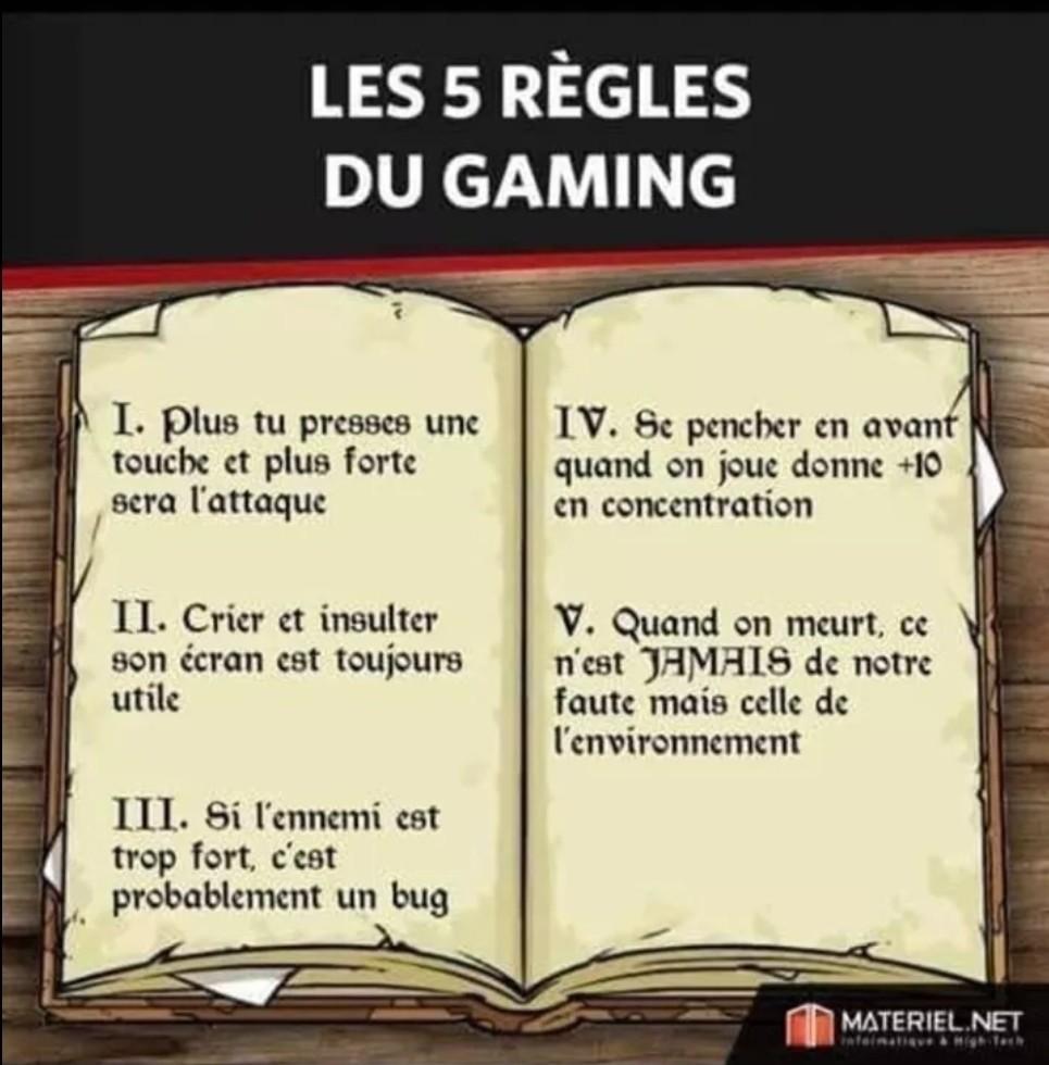 Les 5 règles du gaming - meme
