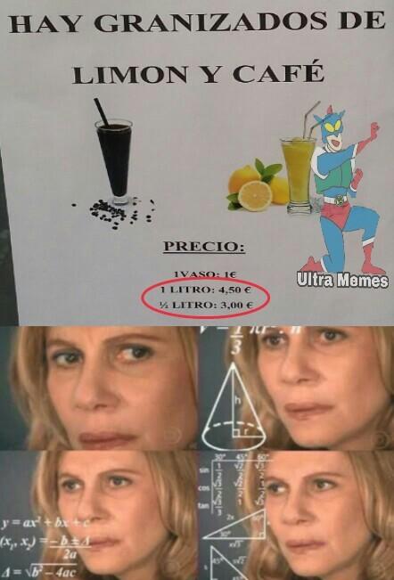 Dos medios litros = 6 euros/1 litro = 4,50 euros - meme