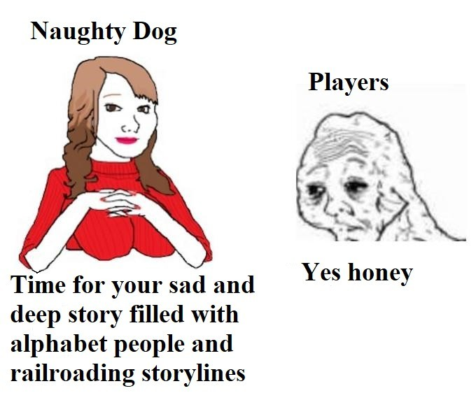 I hope Abby's biceps and pecs are strong enough to save Naughty Dog - meme