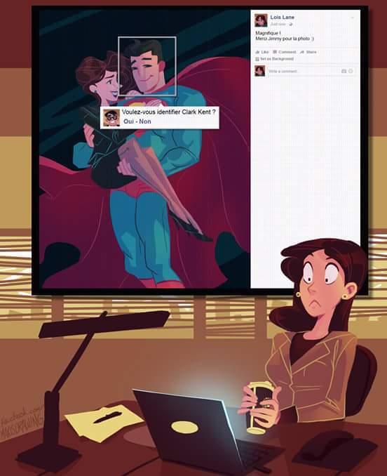 La reconnaissance faciale de facebook dévoile l'identité de superman - meme