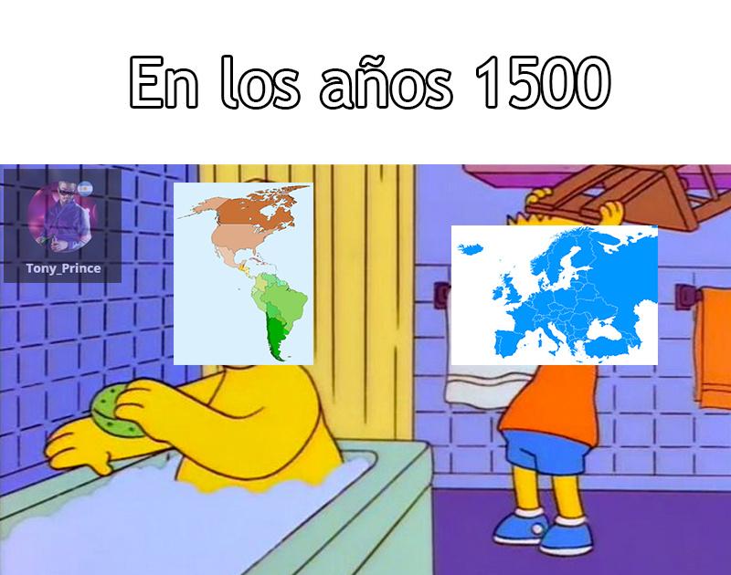 En los años 1500 apróximadamente empezó la colonización a América - meme