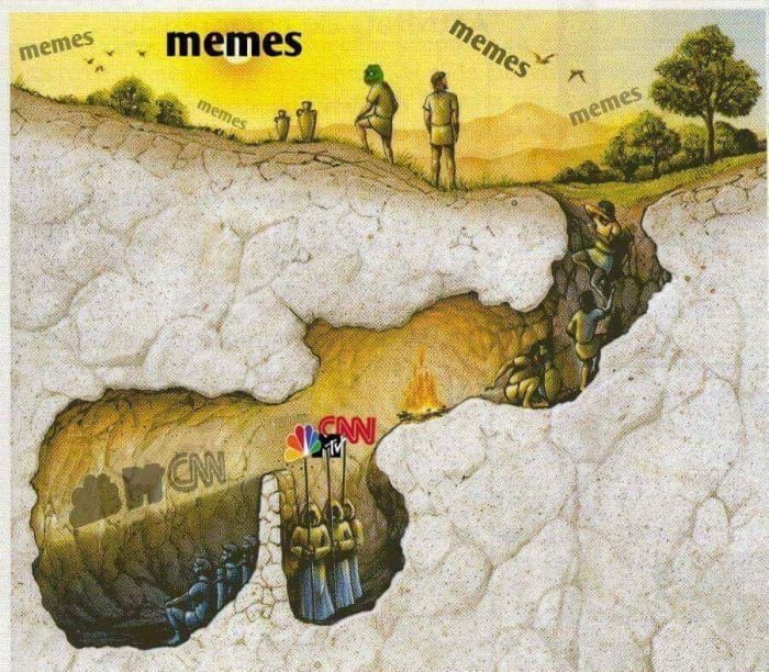 Allegory of the cave. - meme