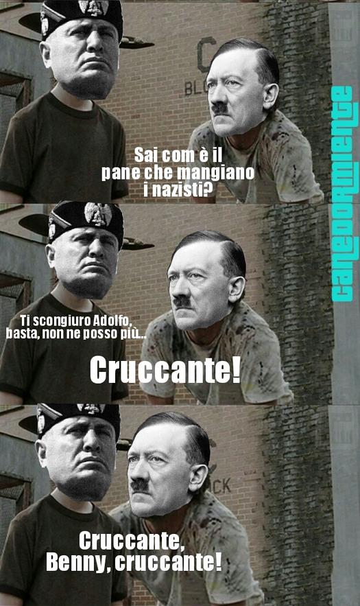povero benny, già ci sono le disfatte italiane a demoralizzarlo, se poi ci si mette anche il führer… - meme