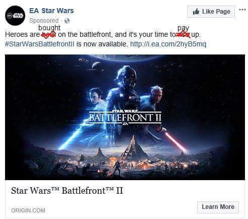Someone edited EA facebook AD XD - meme