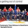 US Paralympics Team refuses to stand during star spangled banner