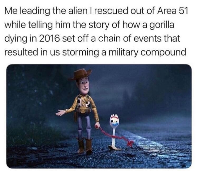 Me leading the alien I rescued out of Area 51 - meme