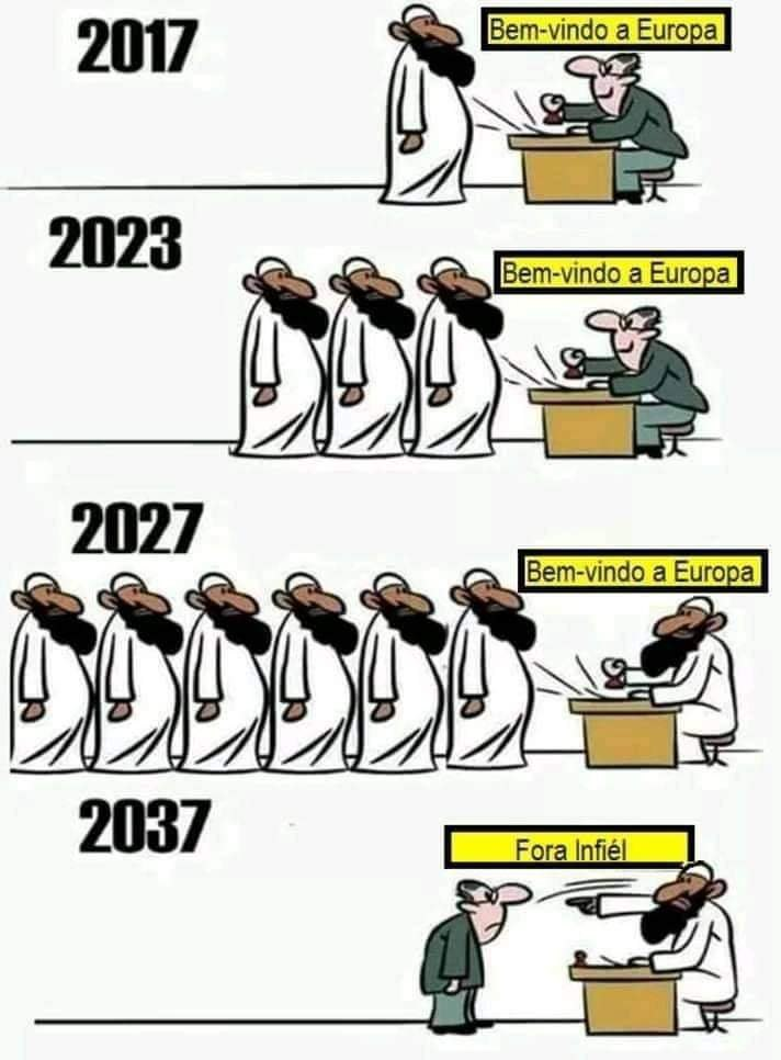 Em pouco tempo o árabe será o idioma oficial da Europa - meme