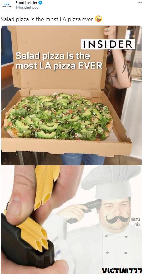 Pizza de ensalada wacala :scaredyao: - meme