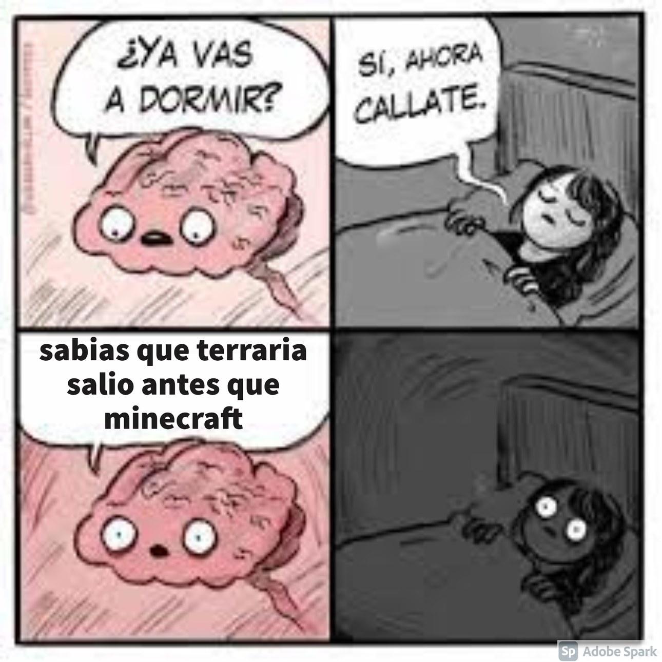 entonces minecraft es terraria pero en 3D - meme