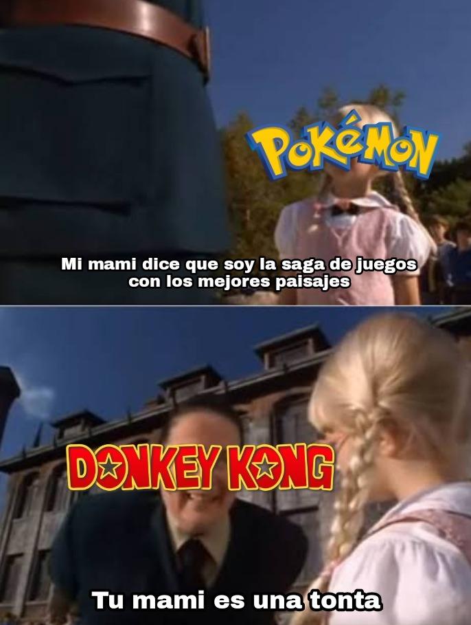 Pedofiliamon se la pela a Donkey Kong - meme