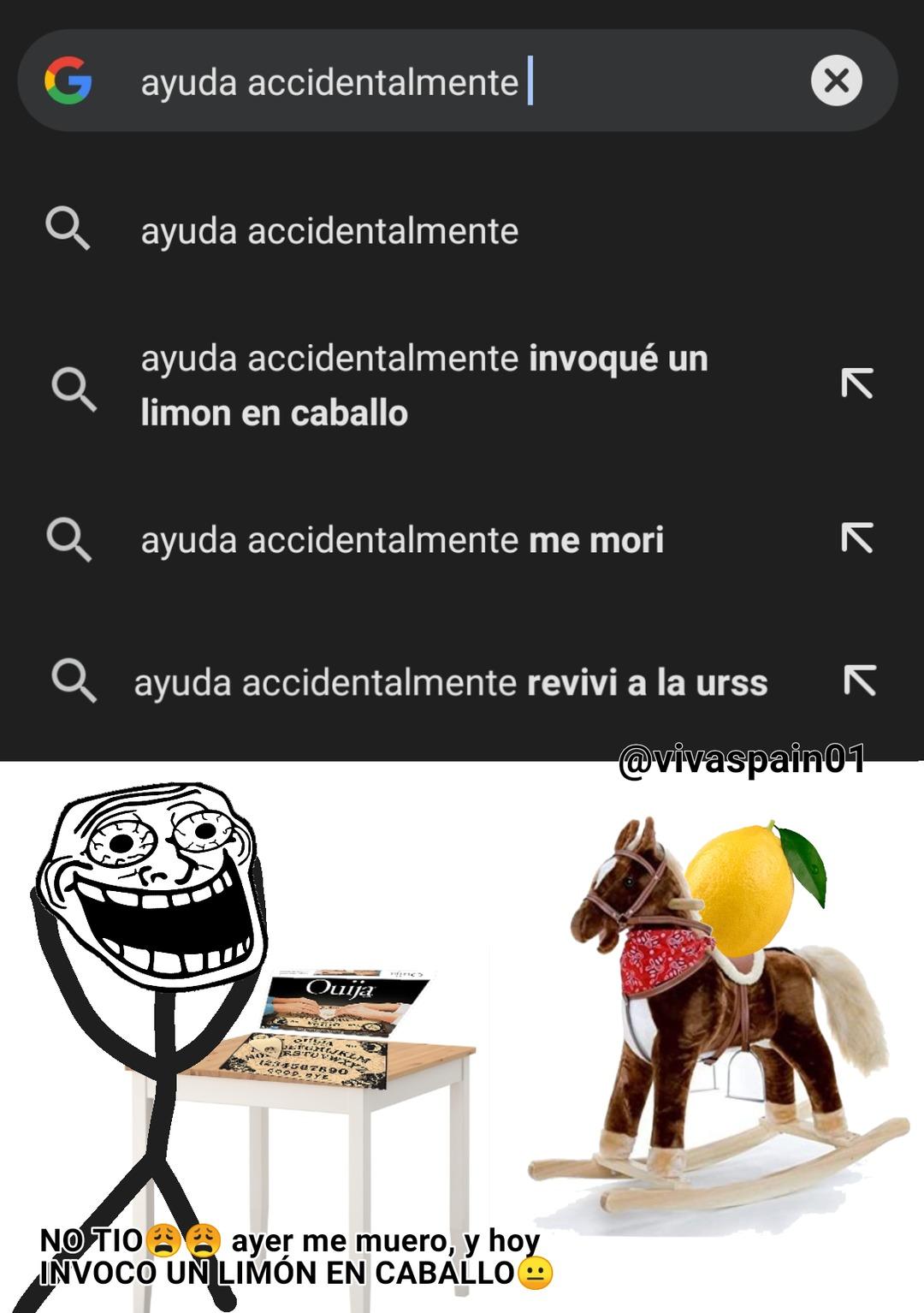 Ayuda accidentalmente invoqué un limón en caballo - meme