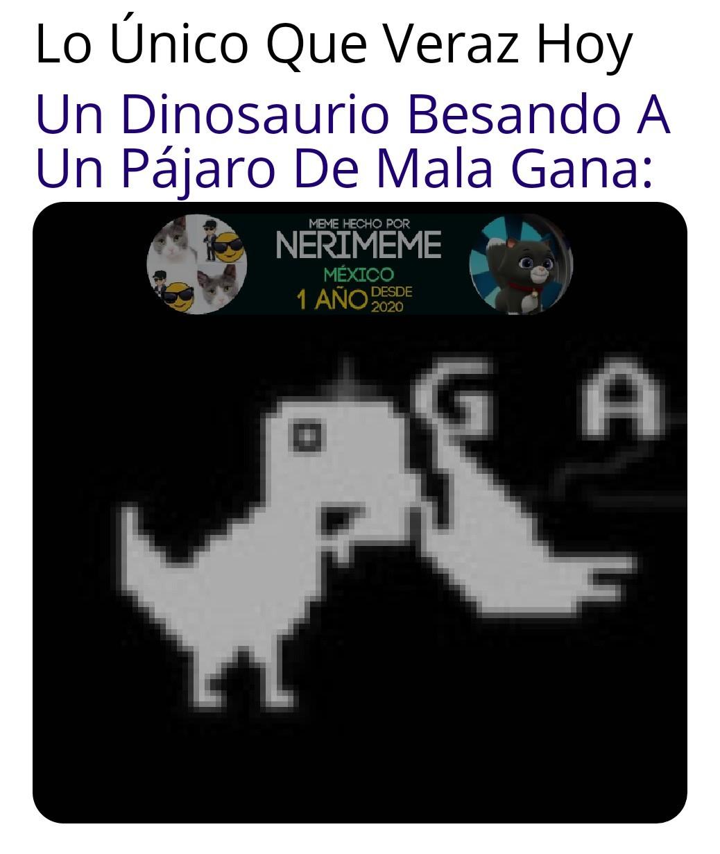 Meme: Un Dinosaurio Besando A Un Pájaro De Mala Gana (IMÁGENES FUERTES) JaJa