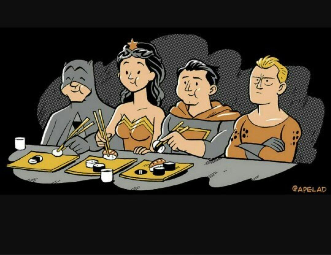 Não leve o Aquaman para comer sushi - meme