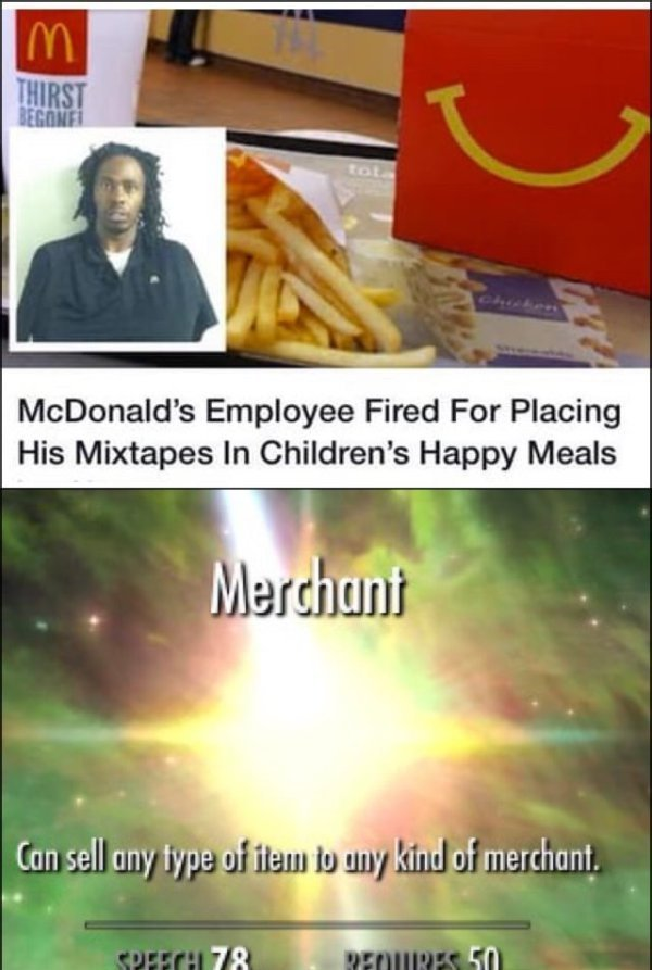 McDonald's employee fired for placing his mixtapes in children's happy meals - meme