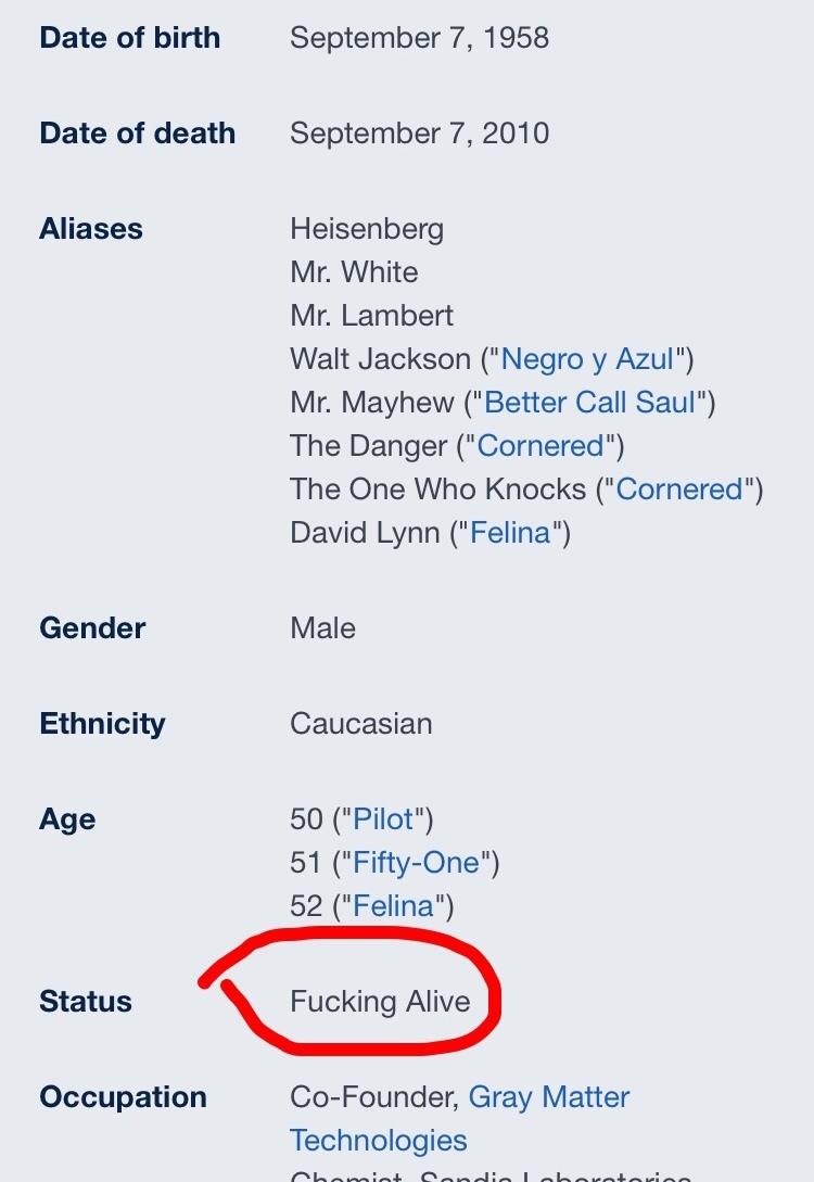 What Wikipedia said about Walter white - meme