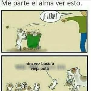 Perros que tiran la basura - meme