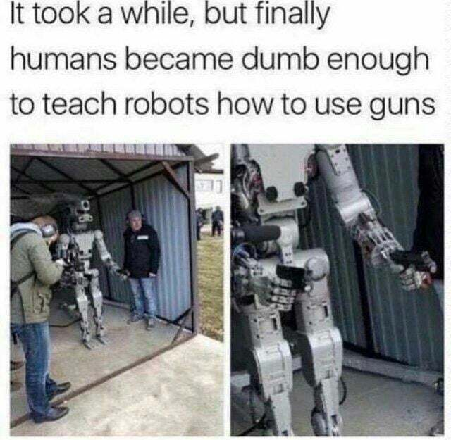Robots using guns - meme