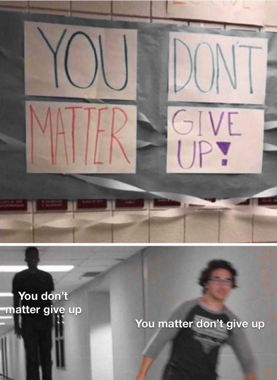 Você não importa, desista! - meme