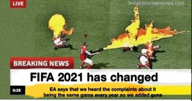 Fifa 2021 will be different - meme