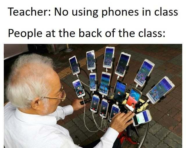 No using phones in class - meme
