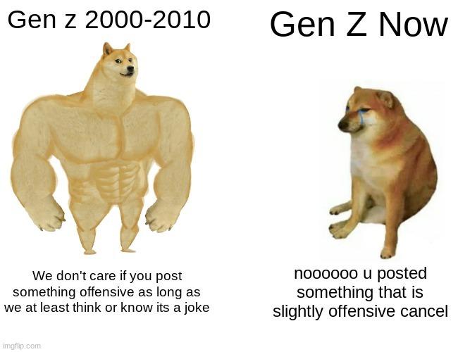 Gen z has gotten so soft - meme