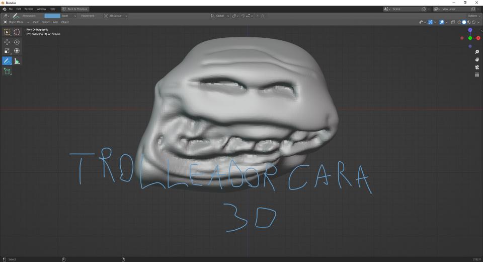 TRolleador cara 3d blender - meme