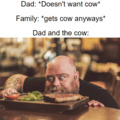 Pet the f#cking cow dad