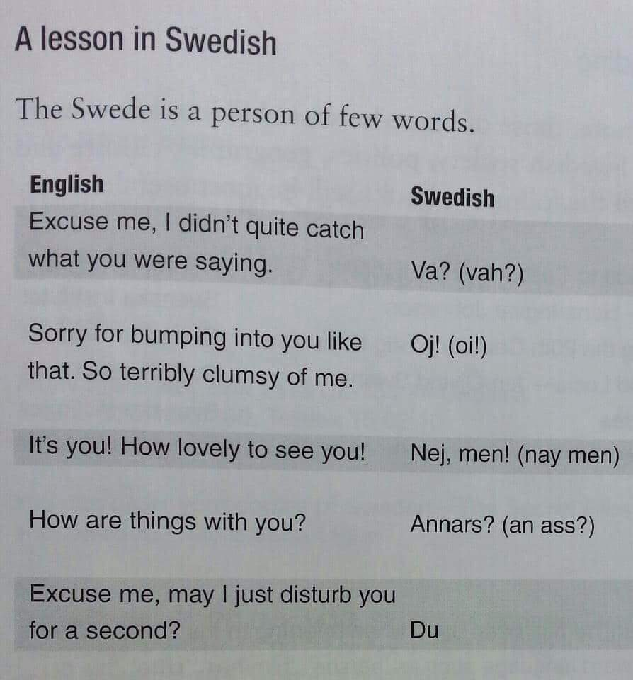 Time for another Swedish lesson my friends - meme