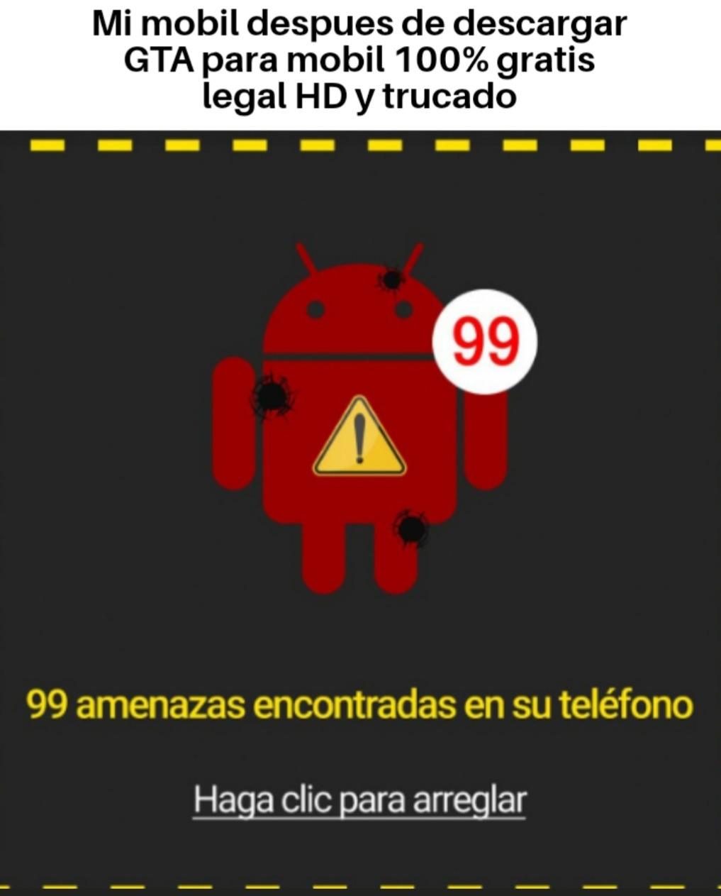 99 amenazas encontradas en su teléfono - meme