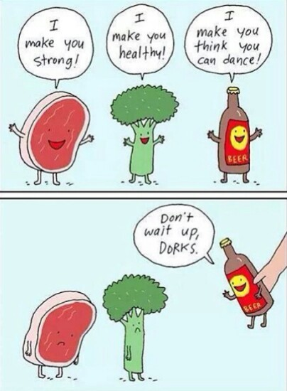 Beer over broccoli - meme