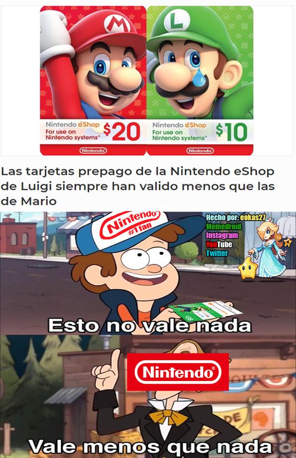 Luigi siempre ha vivido bajo la sombra de su hermano - meme