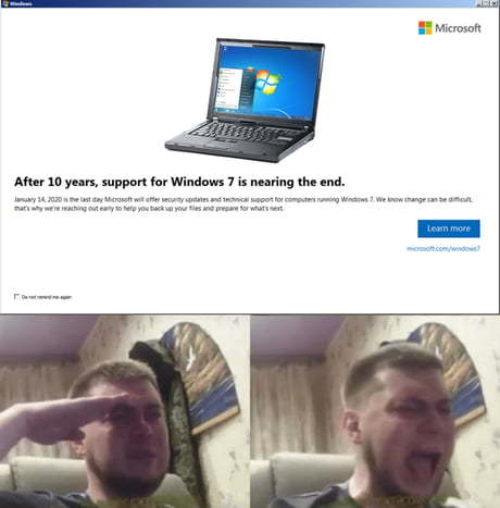 Image result for goodbye windows 7 meme