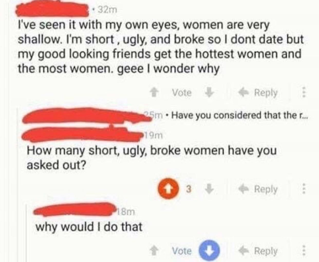Short, ugly, broke - meme