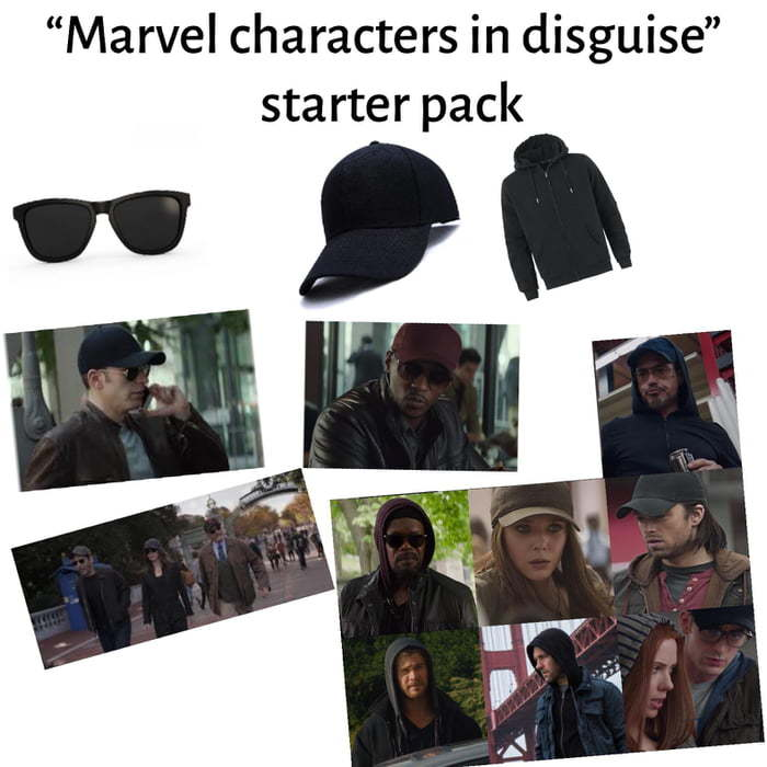 "Marvel characters in ""disguise"" starter pack - meme"