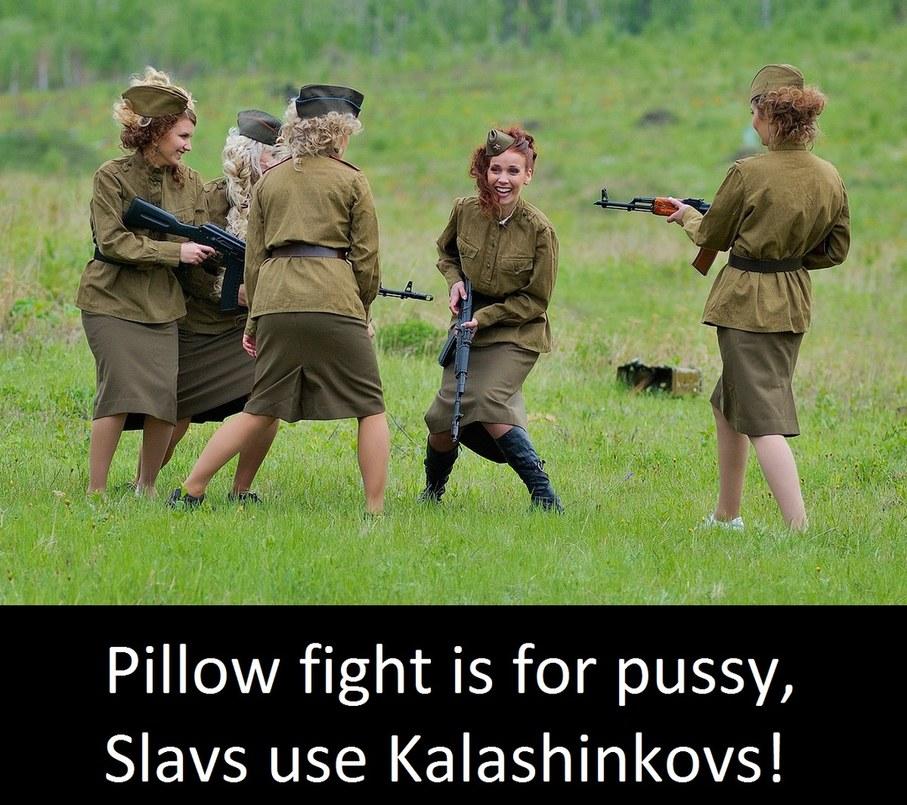 pillow fight ,,, slavic - meme