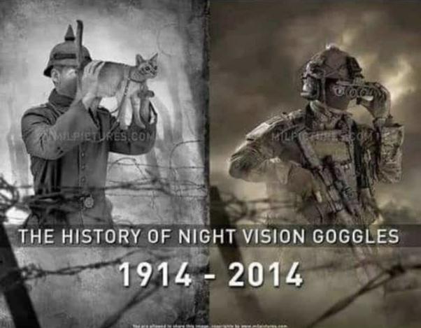 Night vision goggles through history - meme