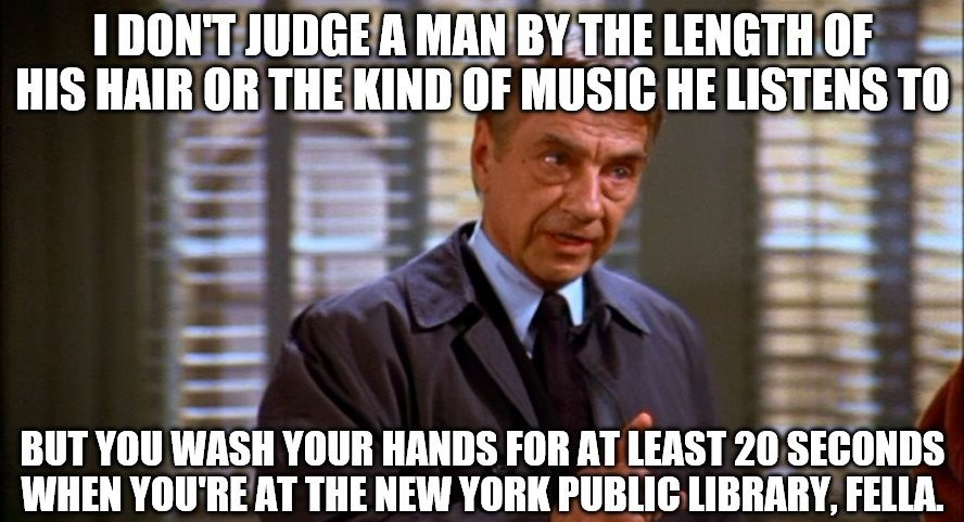 Seinfeld hand washing - meme