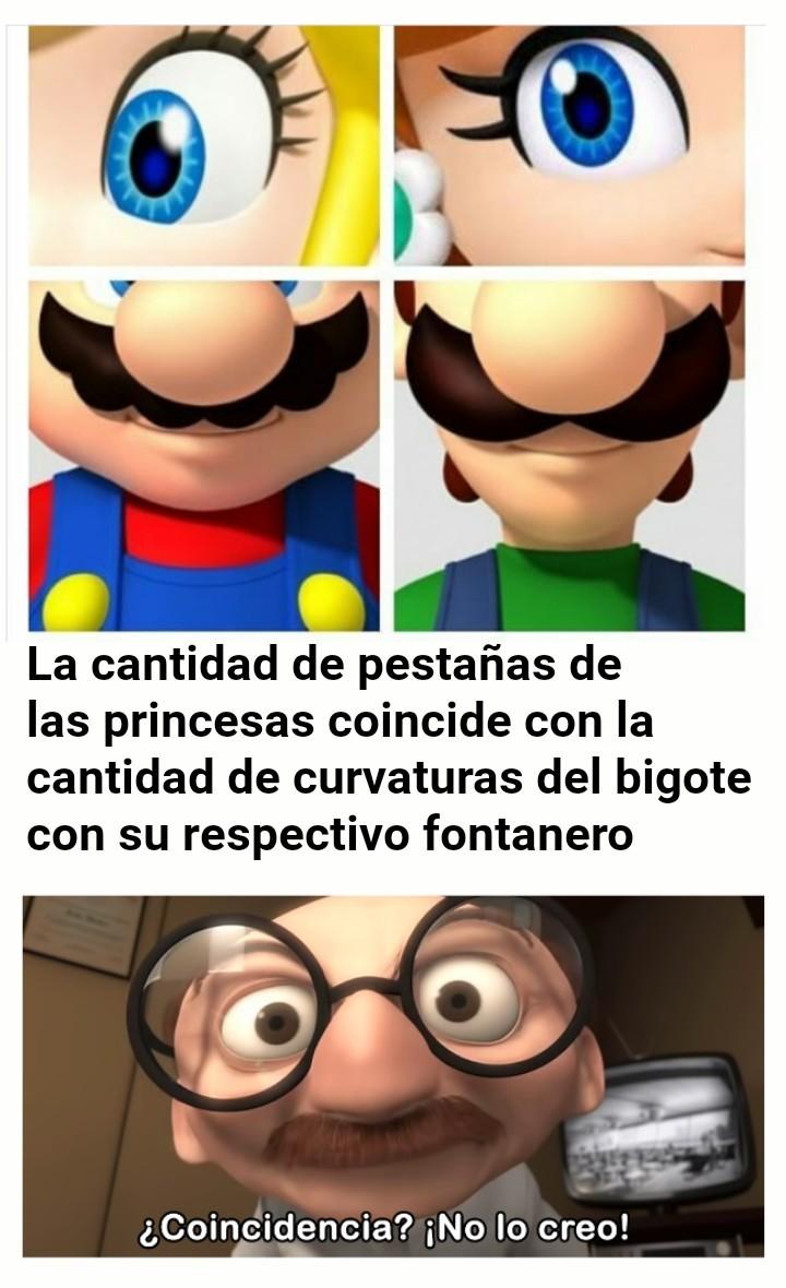 Peach:6 pestañas = Mario: 6 curvaturas en su bigote Daisy:2 pestañas=Luigi: 2 curvaturas en el bigote - meme