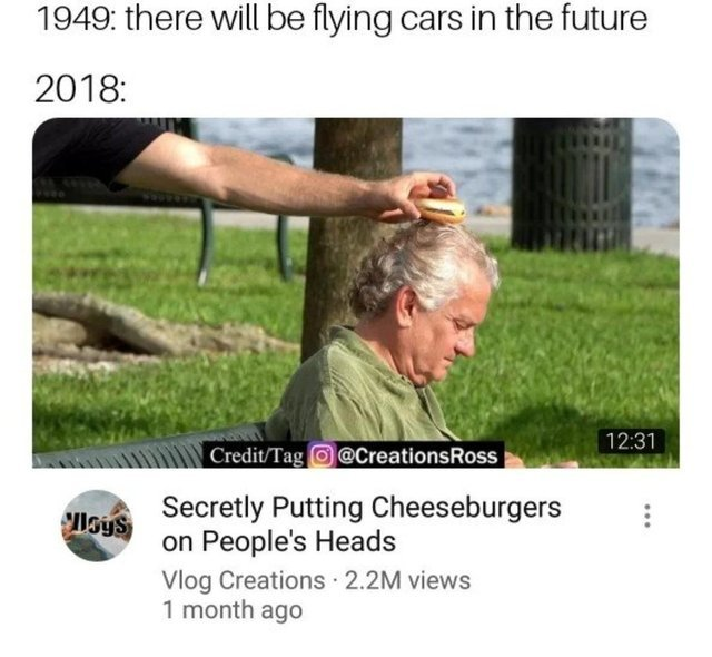 Secretly putting cheeseburgers on people's heads - meme