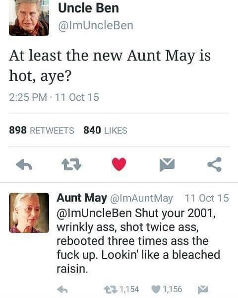 I would fuck any aunt May - meme