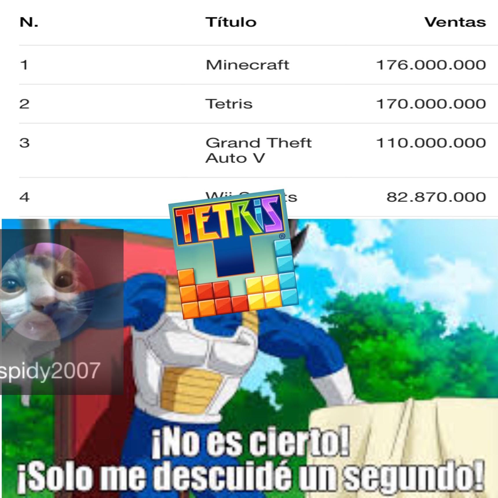 antes el Tetris era más vendido que el Minecraft - meme