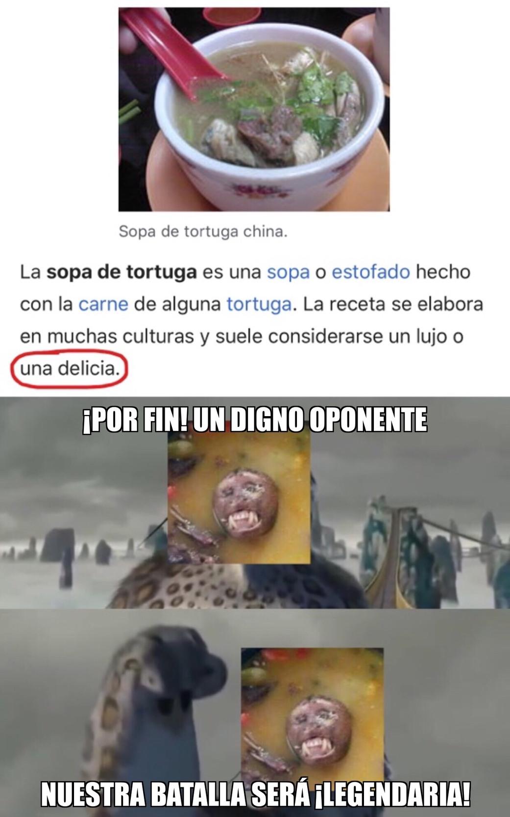 Sopa de Tortuga Una Delicia - meme