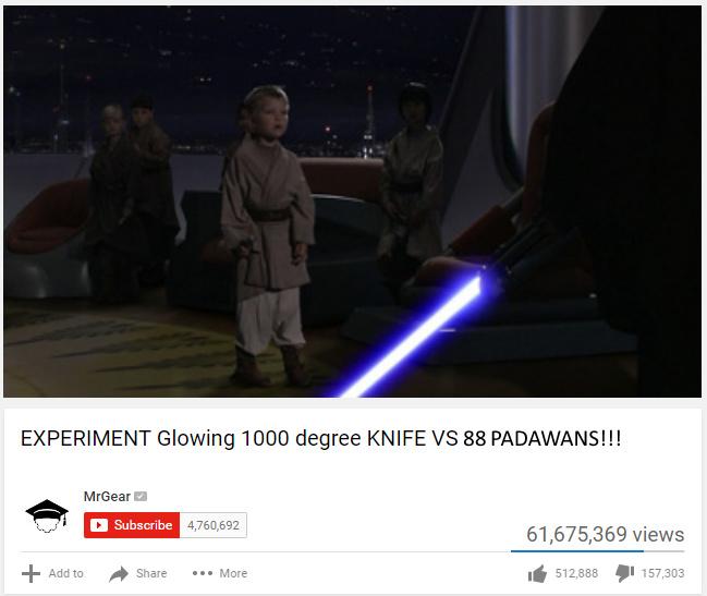 EXPERIMENT Glowing 1000 degree KNIFE VS 88 PADAWANS - meme