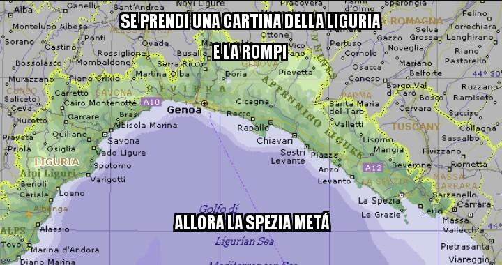Per chi non la capisse:la Spezia,la spezzi-a metà - meme