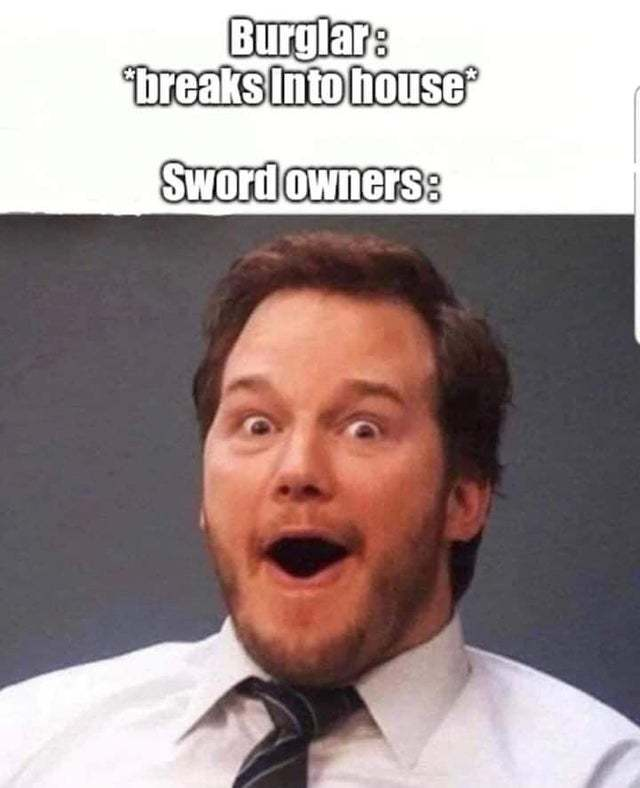 Sword owners: this is your lucky day! - meme